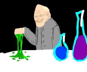 Strange chemist with sticky concoction