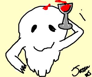 Ghost dumps wine on himself