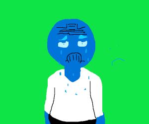blue dude with a very depressed face