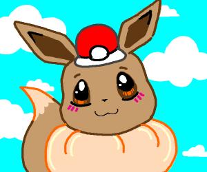 Eevee wearing a Pokéball hat.