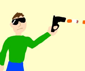 Man with giant cigarette gun