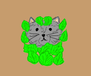 Cat wrapped in vines