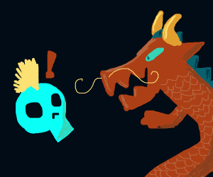 Dragon tries to scare skull w/ spikey hair