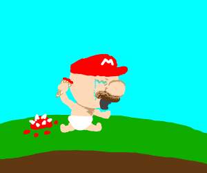 Baby Mario is sad cuz his ice cream meltin'