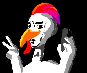 Chicken taking a selfie
