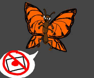 Evil butterfly hates Japan