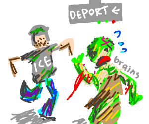 Zombie running from ICE