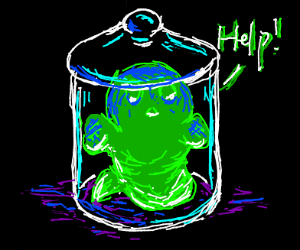Green ghost in a jar