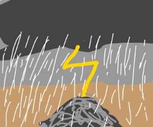 Thunder strikes pile of ash