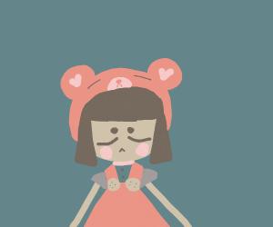Kawaii girl with bear headband