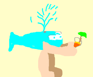Dolphin man feels weird when holding cocktail