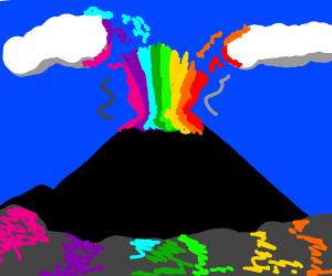 Rainbow Volcanic Eruption