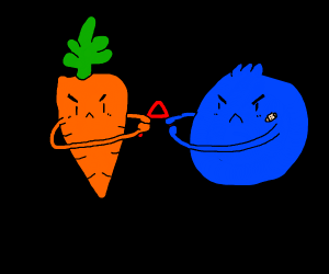 Carrot and Blueberry fight over an A