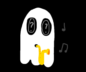 Napstablook(?) playing a saxophone