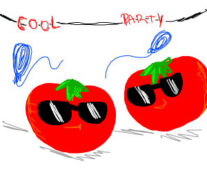 Tomatoes at a cool party