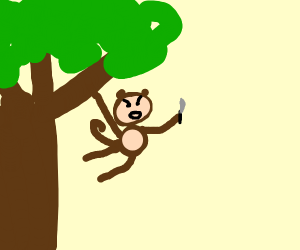 Monkey Swinging From Tree With A Knife Drawception