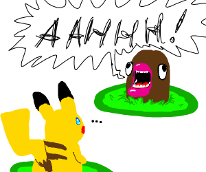 Pikachu fighting a screaming diglett