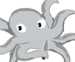 an octopus threatens you with a knife