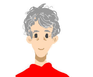An old person with curls in hair + red shirt