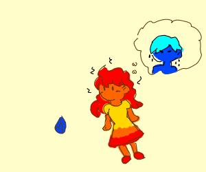 firegirl looking at waterboys gem