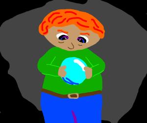 Ginger kid protectively holds blue orb