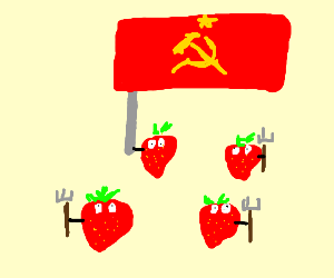 Stawberries hold pitchfork and soviet flag