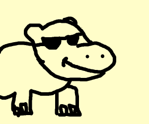 Hippo with Glasses