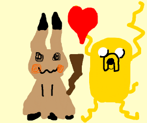 Mimikyu and jake the dog are friends