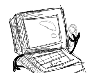Laptop with a spoon