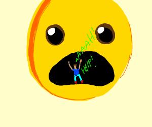 Emoji eats man