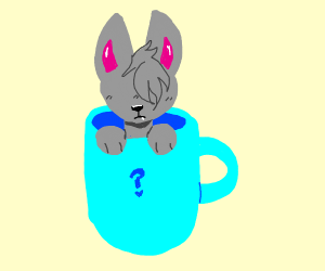 no faced cat in a mug