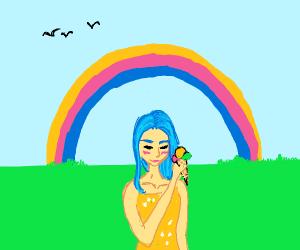 Girl eating icecream under a rainbow