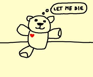 teddy bear with one foot