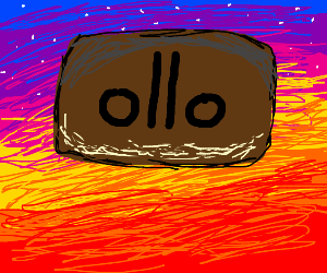 ollo on a brown rectangle