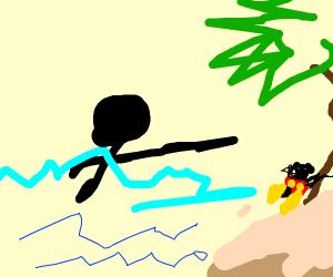 Stickman swimming toward tiny Mickey Mouse