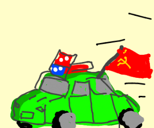 green dominos pizza car w/ wrong russian flag