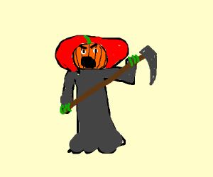 Spooky pumpkin head man with scythe