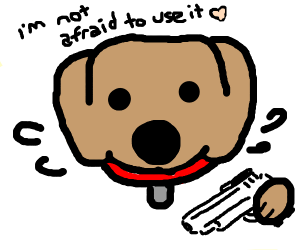 cute dog with a gun