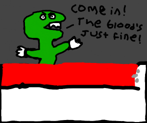 Green dinosaur inviting you to bathe in blood