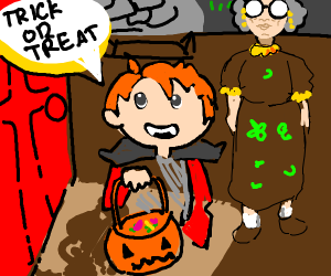 Trick or treating with grandma