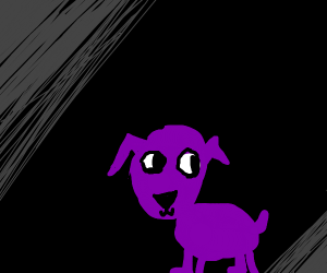 purple dog in darkness