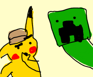 Pikachu puzzled by Creeper