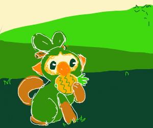 Grookey eating a pinap