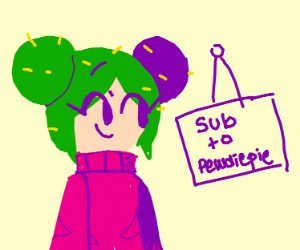 """girl with a sign says """"Sub 2 PewDiePie"""""""