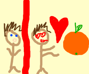 man falls in love with an orange