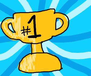 Number 1 golden trophy