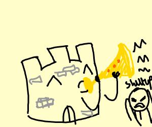 Castle plays a trumpet, badly