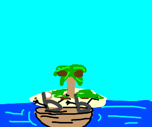 two b in a sailboat seeing the island