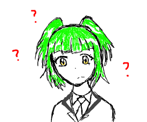 Green haired woman doesn't know