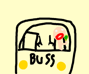 Bus Driver Eating Something in a Yellow Hase